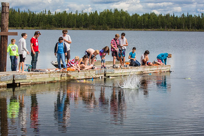 Alaska Summer Research Academy participants test their remotely operated underwater vehicles at the Chena Lake Recreation Area on Thursday, July 28.  Filename: AAR-16-4943-157.jpg