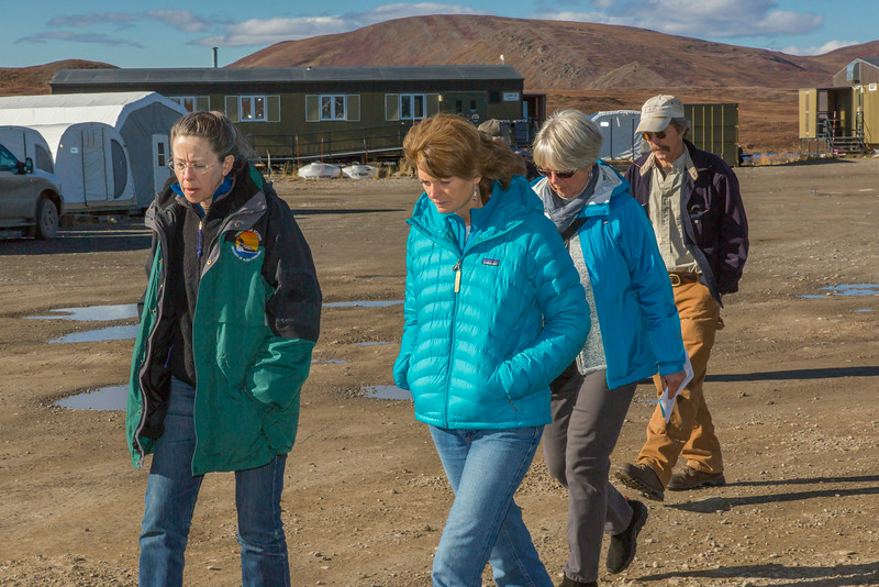 """Donie Bret-Harte, associate science director at UAF's Toolik Field Station, leads U.S. Senator Lisa Murkowski and other UAF visitors on a tour of the unique research center, located about 330 miles north of Fairbanks on Alaska's North Slope.  <div class=""""ss-paypal-button"""">Filename: AAR-13-3929-276.jpg</div><div class=""""ss-paypal-button-end""""></div>"""