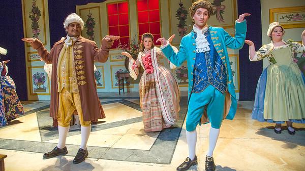 Cast members from Theatre UAF's spring 2014 production of Tartuffe display their costumes.  Filename: AAR-14-4134-158.jpg