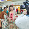 """Nicole Cowans, left, and Katrina Kuharich, cast members in Theatre UAF's production of """"Tartuffe"""" are interviewed by local media  after performing a live teaser in Wood Center a couple of days before opening night.  <div class=""""ss-paypal-button"""">Filename: AAR-14-4121-62.jpg</div><div class=""""ss-paypal-button-end"""" style=""""""""></div>"""