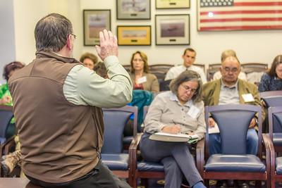 Students from UAF's Alaska Native Studies and Rural Development program meet with Judiciary Committee Chairman Wes Keller during their weeklong seminar on Understanding the Legislative Process in the state capital of Juneau.  Filename: AAR-14-4054-320.jpg