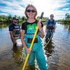 "Undergraduate Patty McCall works with Fisheries Professor Trent Sutton, right, and master's candidate Nick Smith collecting live samples from the Chena River for their research on the life dynamics of Arctic brook lampreys.  <div class=""ss-paypal-button"">Filename: AAR-12-3468-063.jpg</div><div class=""ss-paypal-button-end""></div>"