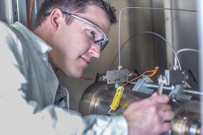 Undergraduate John Cheshire conducts research in UAF's Petroleum Development Lab in the Duckering Building.  Filename: AAR-13-3918-69.jpg