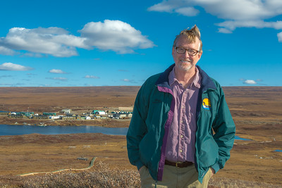 Brian Barnes, director of UAF's Institute of Arctic Biology, poses on the hill above IAB's Toolik Field Station, about 330 miles north of Fairbanks on Alaska's North Slope in Sept, 2013.  Filename: AAR-13-3929-346.jpg