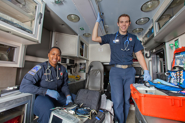 """UAF student firefighters/EMTs Lillian Hampton and Cory Kelly pause during a training exercise in the back of an ambulance housed in the Whitaker Building on the Fairbanks campus.  <div class=""""ss-paypal-button"""">Filename: AAR-11-3223-42.jpg</div><div class=""""ss-paypal-button-end"""" style=""""""""></div>"""