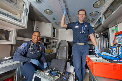 UAF student firefighters/EMTs Lillian Hampton and Cory Kelly pause during a training exercise in the back of an ambulance housed in the Whitaker Building on the Fairbanks campus.  Filename: AAR-11-3223-42.jpg