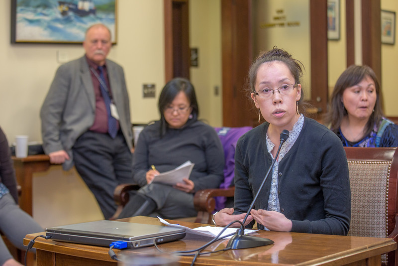 """Vernae Angnaboogok from Wales presents mock testimony to her peer students in RD 492 - Understanding the Legislative Process, at the conclusion of their week-long seminar in Juneau.  <div class=""""ss-paypal-button"""">Filename: AAR-13-3714-812.jpg</div><div class=""""ss-paypal-button-end"""" style=""""""""></div>"""