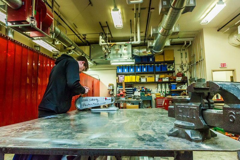 """Local high school student Max Bennett works on a project in the vocational technical lab at UAF's Bristol Bay Campus in Dillingham.  <div class=""""ss-paypal-button"""">Filename: AAR-16-4860-348.jpg</div><div class=""""ss-paypal-button-end""""></div>"""
