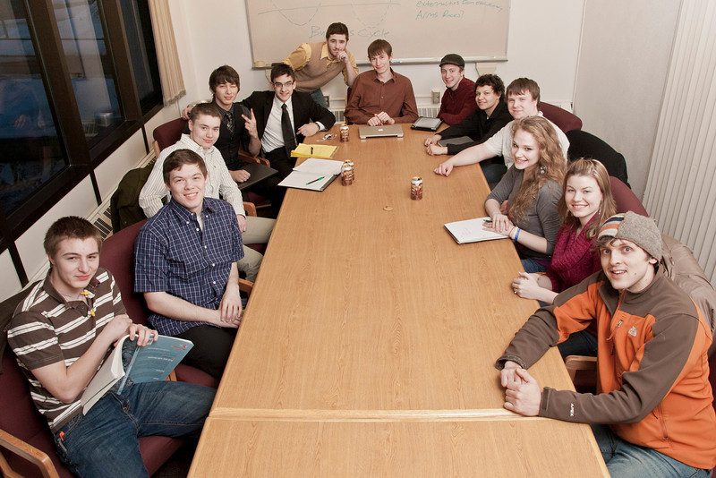 """The School of Management student group, SWEET (students who enjoy economic thinking) posed for a photo at their weekly meeting.  <div class=""""ss-paypal-button"""">Filename: AAR-12-3291-56.jpg</div><div class=""""ss-paypal-button-end"""" style=""""""""></div>"""