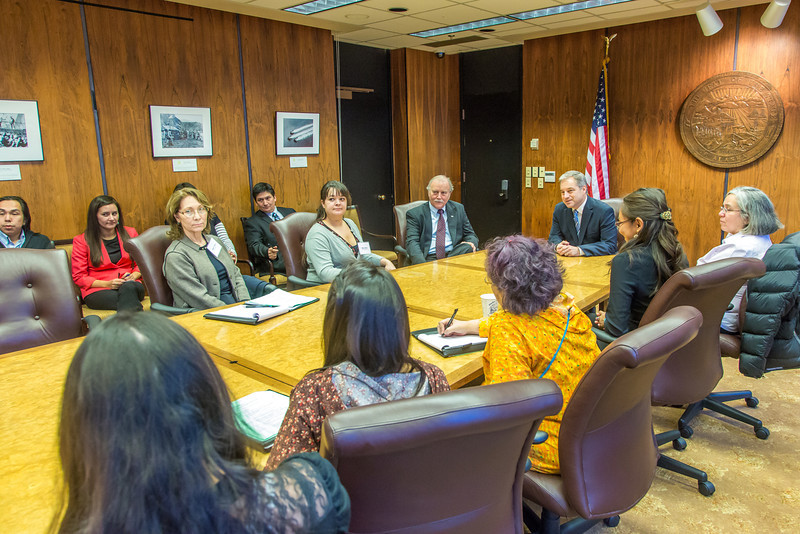 "Alaska Governor Sean Parnell meets with students from Prof. Mike Davis's rural development leadership seminar during their week-long workshop in Juneau.  <div class=""ss-paypal-button"">Filename: AAR-14-4053-75.jpg</div><div class=""ss-paypal-button-end"" style=""""></div>"