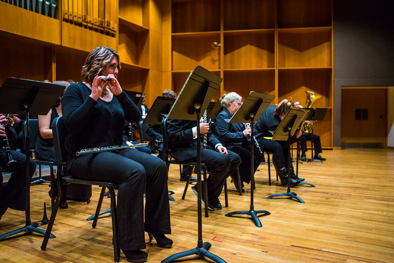 """Members of the UAF Wind Symphony warm up prior to their concert on Nov. 18, 2016.  <div class=""""ss-paypal-button"""">Filename: AAR-16-5070-19.jpg</div><div class=""""ss-paypal-button-end""""></div>"""