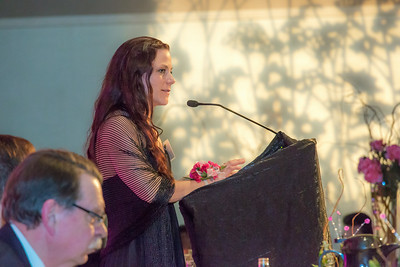 Rebecca Leivdal, president of UAF's Associated Students of Business, addresses the audience during the annual SOM Business Leader of the Year banquet in the Westmark Hotel.  Filename: AAR-14-4154-173.jpg