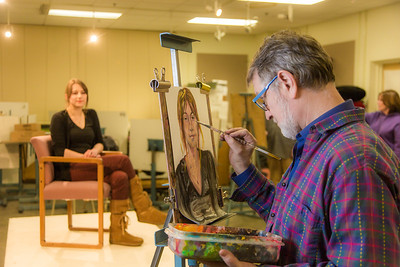 Professor Todd Sherman, dean of UAF's College of Liberal Arts, leads a portrait painting class during the 2014 Wintermester in the Fine Arts complex.  Filename: AAR-14-4032-11.jpg