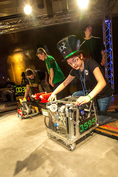 """High school students from throughout Interior Alaska squared off in the Wood Center ballroom in February for an annual robotics competition.  <div class=""""ss-paypal-button"""">Filename: AAR-13-3729-76.jpg</div><div class=""""ss-paypal-button-end"""" style=""""""""></div>"""