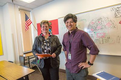 Associate Professor Ute Kaden meets with education major Bennett Wong during Bennett's internship at Tanana Middle School during the spring 2015 semester.  Filename: AAR-15-4531-04.jpg