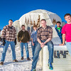 "Engineering students pose by the 2014 ice arch they designed and built on the Fairbanks campus -- a tradition dating back to the 1950s. From left to right are Daniel Hjortstorp,  Tux Seims, Vincent Valenti, Andy Chamberlain, Richard ""Buzz"" Ward and James ""Tripp"" Collier.  <div class=""ss-paypal-button"">Filename: AAR-14-4093-11.jpg</div><div class=""ss-paypal-button-end"" style=""""></div>"