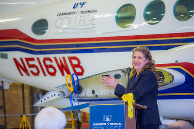 CTC Executive Dean Michelle Stalder makes remarks during the official ribbon cutting ceremony in CTC's new aviation program hanger at the Fairbanks International Airport.  Filename: AAR-13-3810-11.jpg