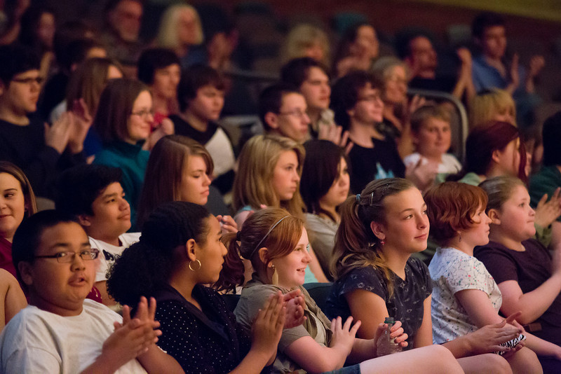 """UAF's Summer Music Academy students watch peers perform on stage at the Davis Concert Hall during their daily concert hour performances.  <div class=""""ss-paypal-button"""">Filename: AAR-12-3429-8.jpg</div><div class=""""ss-paypal-button-end"""" style=""""""""></div>"""