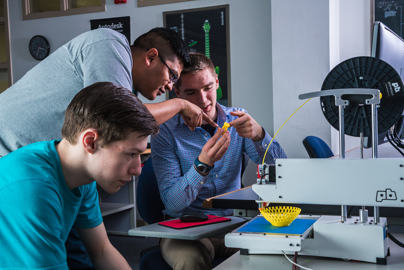 """Students take advantage of the facilities in UAF's Community and Technical College's 3-D print lab in downtown Fairbanks.  <div class=""""ss-paypal-button"""">Filename: AAR-16-4857-137.jpg</div><div class=""""ss-paypal-button-end""""></div>"""
