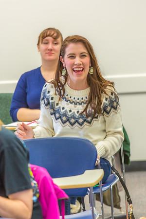 Mariah Ray shares a laugh with Associate Professor Dani Sheppard during her Psychology 335 final exam Dec. 17 in the Gruening Building.  Filename: AAR-14-4414-164.jpg