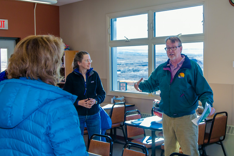 """Brian Barnes, director of UAF's Institute of Arctic Biology, visits with U.S. Senator Lisa Murkowski during the senator's brief visit to IAB's Toolik Field Station on Alaska's North Slope in Sept, 2013.  <div class=""""ss-paypal-button"""">Filename: AAR-13-3929-208.jpg</div><div class=""""ss-paypal-button-end""""></div>"""