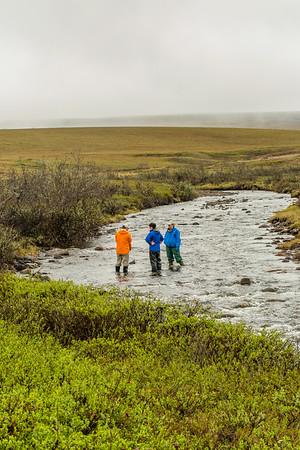 Scientists take samples from the stream feeding Toolik Lake at the Toolik Field Station, run by UAF's Institute of Arctic Biology on Alaska's North Slope.  Filename: AAR-14-4216-231.jpg