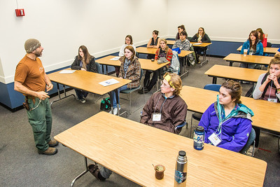 Assistant professor Eduardo Wilner leads a mock philosphy class  with high school seniors during an Inside Out event in a Gruening Building classroom.  Filename: AAR-12-3609-07.jpg