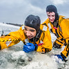 "Jordan Sanchez, left, and Joshua Stern practice cold-water rescue techniques this morning with the University of Alaska Fairbanks Fire Department.  <div class=""ss-paypal-button"">Filename: AAR-13-3797-41.jpg</div><div class=""ss-paypal-button-end"" style=""""></div>"