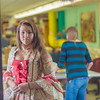 """Theater major Katrina Kuharich checks out her dress for the Theatre UAF production of Tartuffe during a fitting in the department's costume shop  <div class=""""ss-paypal-button"""">Filename: AAR-14-4104-122.jpg</div><div class=""""ss-paypal-button-end"""" style=""""""""></div>"""