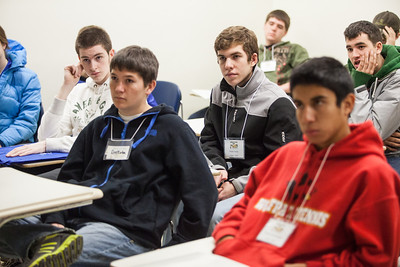 Visiting high school students attend a mock engineering class during Discover UAF's InsideOut program in late Oct. 2012 at the Gruening Building.  Filename: AAR-12-3614-37.jpg