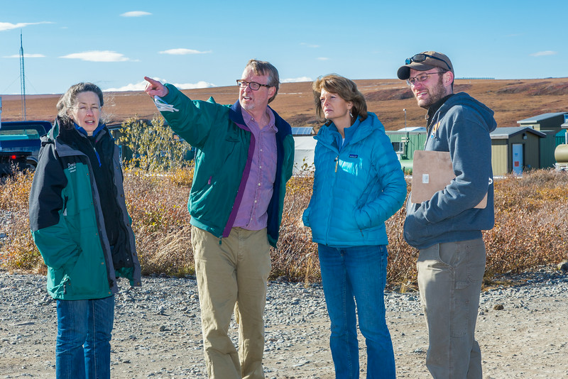 """Institute of Arctic Biology director Brian Barnes and Donie Bret-Harte, associate science director at UAF's Toolik Field Station, lead Senator Lisa Murkowski on a tour of the arctic research station, located about 330 miles north of Fairbanks on Alaska's North Slope. At right is Toolik assistant operations supervisor Brett Biebuyck.  <div class=""""ss-paypal-button"""">Filename: AAR-13-3929-284.jpg</div><div class=""""ss-paypal-button-end""""></div>"""