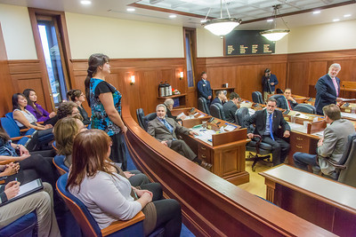 Misty Savo, a junior from Dillingham, was among a group of students from rural Alaska attending a weeklong seminar on Understanding the Legislative Process in Juneau. She was formally introduced on the floor of the Alaska State Senate.  Filename: AAR-14-4054-160.jpg