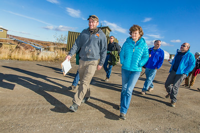 Brett Biebuyck, assistant operations supervisor at UAF's Toolik Field Station, leads U.S. Senator Lisa Murkowski and other UAF visitors on a tour of the unique research center, located about 330 miles north of Fairbanks on Alaska's North Slope.  Filename: AAR-13-3929-228.jpg