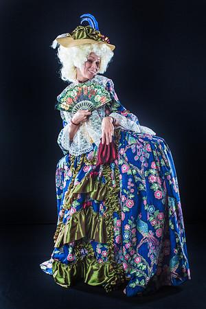 Cast members from Theatre UAF's spring 2014 production of Tartuffe display their costumes.  Filename: AAR-14-4134-65.jpg