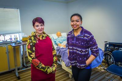 Katie Elanna, left, and Meranda Okoomealingok are both studying nursing at UAF's Northwest Campus in Nome.  Filename: AAR-16-4865-373.jpg