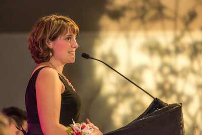 Lorna Shaw, recipient of the School of Management's 2014 Business Leader of the Year award, addresses the audience during the annual banqute April 18 in the Westmark hotel.  Filename: AAR-14-4154-303.jpg