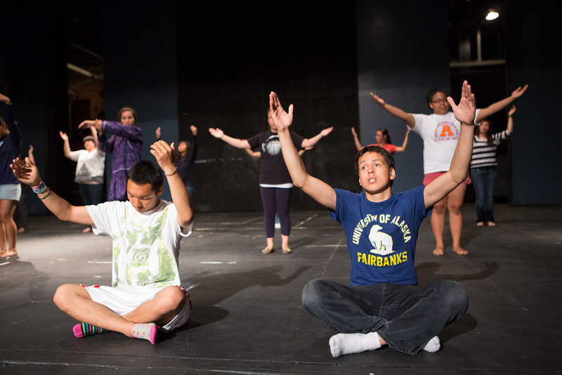 """RAHI student Aaron Ulroan of Chevak learns traditional Alaska Native Dance at the  at the Salisbury Theater.  <div class=""""ss-paypal-button"""">Filename: AAR-12-3452-26.jpg</div><div class=""""ss-paypal-button-end"""" style=""""""""></div>"""