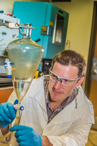 "Undergraduate John Cheshire conducts research in UAF's Petroleum Development Lab in the Duckering Building.  <div class=""ss-paypal-button"">Filename: AAR-13-3918-235.jpg</div><div class=""ss-paypal-button-end"" style=""""></div>"