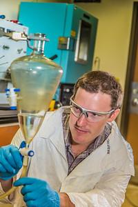 Undergraduate John Cheshire conducts research in UAF's Petroleum Development Lab in the Duckering Building.  Filename: AAR-13-3918-235.jpg