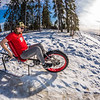 "Mechanical engineering major Eric Bookless demonstrates the fat tire ski bike he and two partners designed and built for paraplegic users as their spring 2016 senior design project. The bike is powered by pushing and pulling on the handles.  <div class=""ss-paypal-button"">Filename: AAR-16-4856-79.jpg</div><div class=""ss-paypal-button-end""></div>"