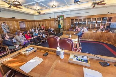 Students from UAF's Alaska Native Studies and Rural Development program hear from four members of the Alaska House Finance Committee during their weeklong seminar on Understanding the Legislative Process in the state capital of Juneau.  Filename: AAR-14-4055-102.jpg