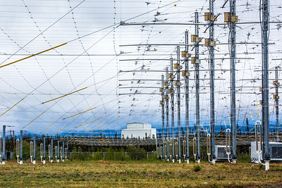 The High Frequency Active Auroral Research Program (HAARP) facility near Gakona comprises a 40-acre grid of towers to  conduct research of the ionosphere. The facility was built and operated by the U.S. Air Force until Aug. 11, 2015, when ownership was transferred to UAF's Geophysical Institute.  Filename: AAR-15-4600-116.jpg