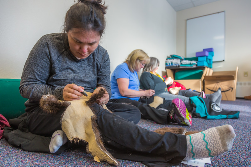 "Community members learn how to make authentic beaver hats during an evening class at UAF's Chukchi Campus in Kotzebue.  <div class=""ss-paypal-button"">Filename: AAR-16-4863-086.jpg</div><div class=""ss-paypal-button-end""></div>"