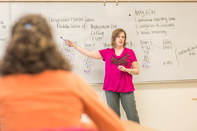 Amy Cooper lectures to her intermediate accounting students in a Duckering Building classroom.  Filename: AAR-14-4112-135.jpg