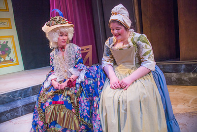 Cast members from Theatre UAF's spring 2014 production of Tartuffe display their costumes.  Filename: AAR-14-4134-153.jpg