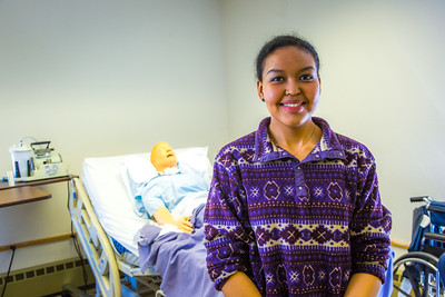 Meranda Okoomealingok, a Native of Savonga on St. Lawrence Island, is studying to be a registered nurse at UAF's Northwest Campus in Nome.  Filename: AAR-16-4865-302.jpg