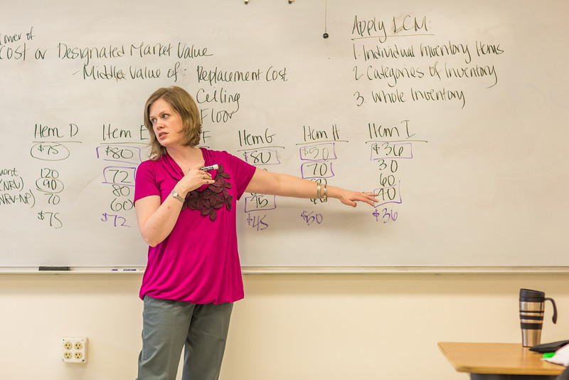 "Amy Cooper lectures to her intermediate accounting students in a Duckering Building classroom.  <div class=""ss-paypal-button"">Filename: AAR-14-4112-118.jpg</div><div class=""ss-paypal-button-end"" style=""""></div>"