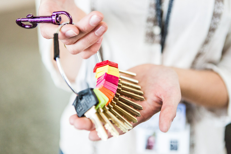 "Kirsten Olson holds keys to the University of Alaska Museum of the North.  <div class=""ss-paypal-button"">Filename: AAR-13-3905-1.jpg</div><div class=""ss-paypal-button-end"" style=""""></div>"