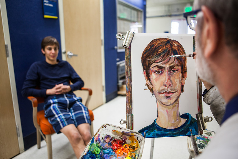 """Summer Visual Art Academy student Dreyzen Prino poses for a portrait by CLA Dean and VAA Director Todd Sherman.  <div class=""""ss-paypal-button"""">Filename: AAR-13-3860-1.jpg</div><div class=""""ss-paypal-button-end"""" style=""""""""></div>"""