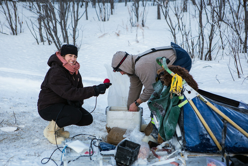 "Journalism student Monica Combs prepares for an interview at the mile 101 checkpoint of the 2014 Yukon Quest Sled Dog Race.  <div class=""ss-paypal-button"">Filename: AAR-14-4060-33.jpg</div><div class=""ss-paypal-button-end""></div>"